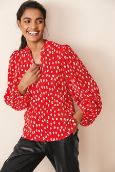 Red Ditsy Print Plissé Top