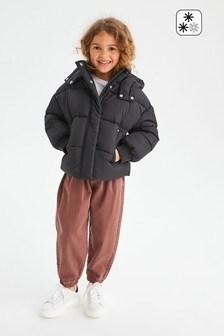 Black Shower Resistant Shorter Length Padded Jacket (3-16yrs)