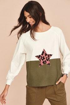 Khaki Colourblock Star Raglan Long Sleeve Top