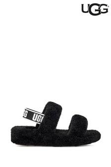 UGG Black Oh Yeah Fluff Sandal Slippers