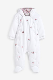 White Velour Embroidered All-In-One (0mths-2yrs)