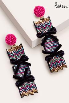 Boden Blue Christmas Sequin Earrings