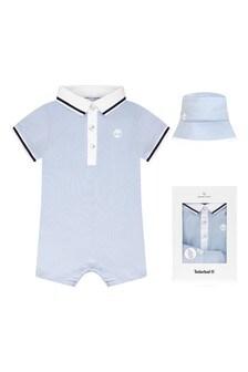 طقم هدايا ثوب أطفال قطن أزرق للأولاد البيبي منTimberland®