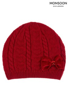 Monsoon Red Ruby Heart Velvet Bow Cable Beanie
