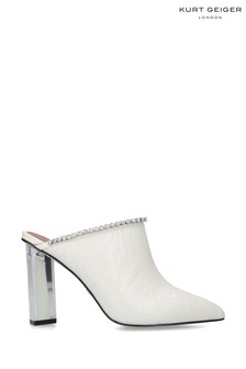 Kurt Geiger London White Blare Heeled Mules