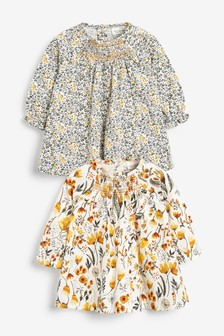 Ochre/Cream 2 Pack Smock Floral Tunic (0mths-3yrs)
