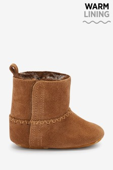 Tan Leather Warm Lined Baby Boots (0-18mths)