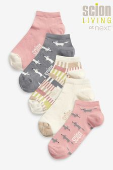 Pink Scion At Next Fox Patterned Trainer Socks 5 Pack