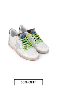 Kids White Leather Ball Star Trainers