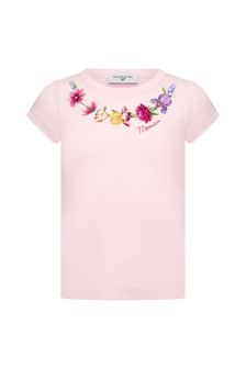 Girls Pink Cotton T-Shirt