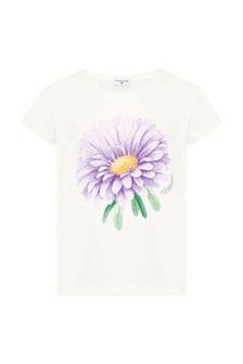Girls Cream Cotton T-Shirt