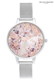 Olivia Burton Silver Tone Abstract Floral Watch