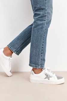 White And Silver Regular/Wide Fit Signature Chunky Star Trainers