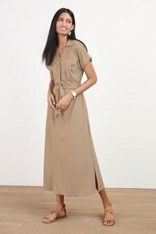 Neutral Belted Shirt Dress