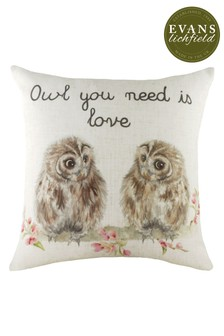 Hand Painted Hedgerow Owls Cushion by Evans Lichfield