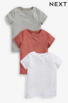 White/Pink/Grey 3 Pack T-Shirts (3-16yrs)