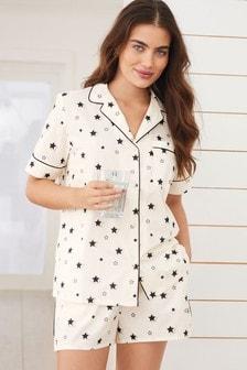 Ecru Star Button Through Short Pyjamas Set