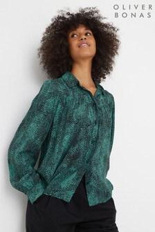 Oliver Bonas Green Animal Print Button Down Shirt