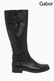 Gabor Nevada Black Leather Knee Length Fashion Boots