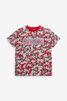 Red Santa All Over Print Flippy Sequin T-Shirt (3-16yrs)