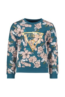 Girls White & Blue Floral Print Sweater