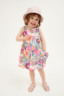 Pink Cotton Bow Strap Dress (3mths-7yrs)