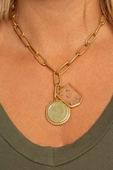 Kate Thornton 'Stronger Together' Gold Tone Hug & Star Shield Necklace