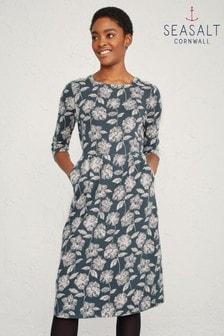 Seasalt Tall Grey Tamsin Sketched Flowers Granite Dress