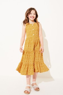 Ochre Ditsy Floral Printed Texture Tiered Maxi Dress (3-16yrs)