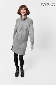 M&Co Grey Knitted Roll Neck Dress