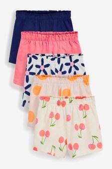 Pink/Navy 5 Pack Short Fluro Geo Shorts (3mths-7yrs)