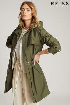 Reiss Green Cora Lightweight Parka Jacket