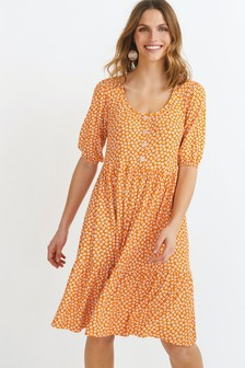 Orange Ditsy Button Front Scoop Neck Dress