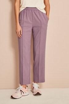 Lilac Sharkskin Elastic Waist Trousers