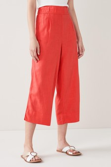 Red Linen Blend Slouch Culottes