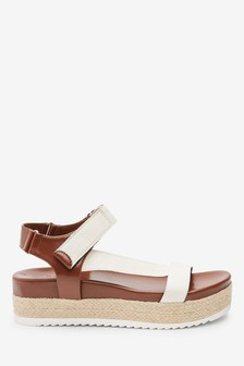 Tan Sporty Strap Flatform Sandals
