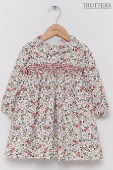 Trotters London Pink Willow Smocked Floral Dress