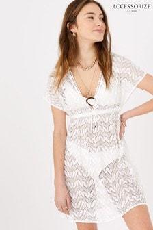 Accessorize White Floral Lace Kaftan Dress