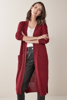 Red Longline Cardigan