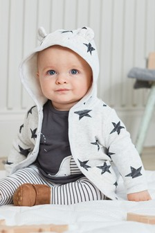 Monochrome Cosy Popper Lightweight Jacket (0mths-3yrs)