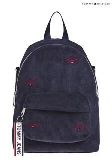Tommy Hilfiger Blue Logo Tape Corduroy Backpack
