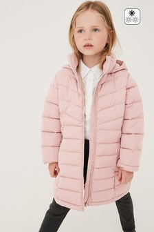 Pink Shower Resistant Long Padded Jacket (3-16yrs)