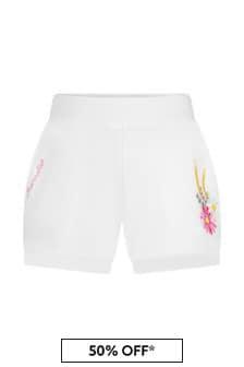 Monnalisa Baby Girls White Cotton Shorts