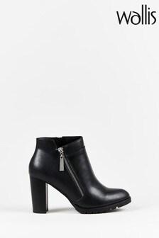 Wallis Alaya Black Chunky Tread Side Zip Boots