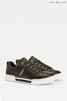 Tommy Hilfiger Black/Gold Branded Trainers