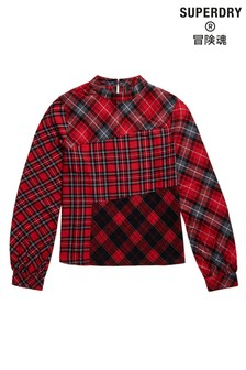 Superdry Long Sleeve Woven Check Top