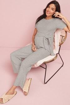 Grey Maternity Lounge Jumpsuit