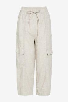 Stone Stripe Linen Blend Utility Crop Trousers