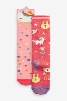 Pink 2 Pack Unicorn Welly Socks
