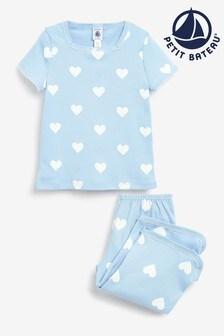 Petit Bateau Blue Heart Print Pyjamas